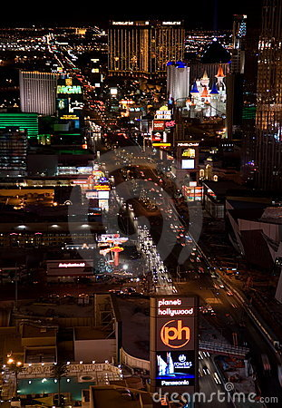 Las Vegas Night Panorama Editorial Stock Photo