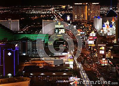 Las Vegas Night Panorama Editorial Stock Photo