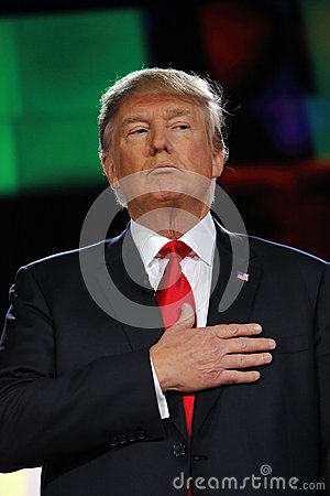 Free LAS VEGAS, NV - DECEMBER 15: Republican Presidential Frontrunner Donald J. Trump Holds Hand Over Heart At CNN Republican President Royalty Free Stock Photography - 66213657