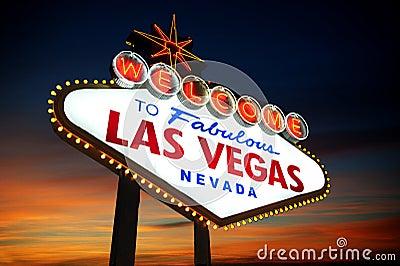 las vegas sign at sunset royalty free stock images image 27070929. Black Bedroom Furniture Sets. Home Design Ideas