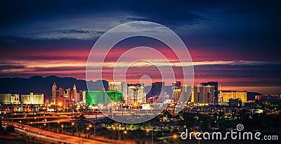 Las Vegas Skyline at Dusk Stock Photo