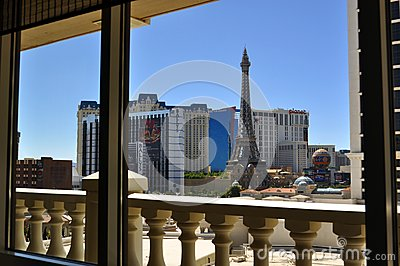 Las Vegas Strip - Ballys and Paris hotel from Caesars  room Editorial Stock Image