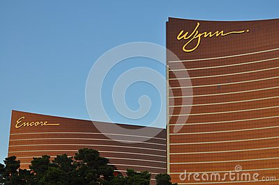 Las Vegas Strip - Detail of Wynn and Encore hotel at sunset Editorial Photography