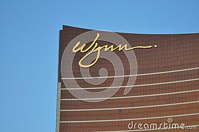 Las Vegas Strip - Detail of Wynn hotel at sunset Editorial Stock Image