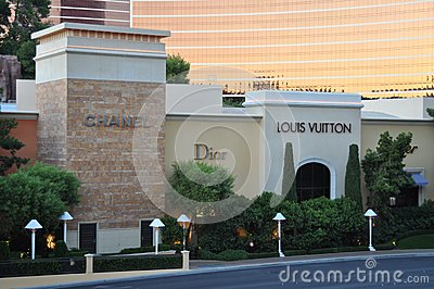 Las Vegas Strip - Luxury shops in front of Wynn hotel Editorial Image