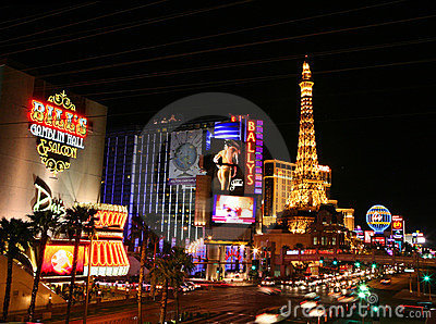 Las Vegas Strip at night, horizontal Editorial Stock Image