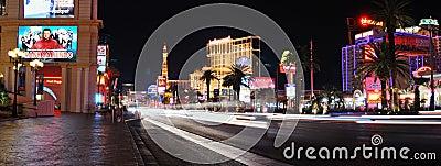 Las Vegas strip night panorama Editorial Photography