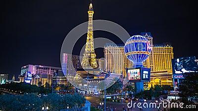 Las Vegas. Time Lapse of the Las Vegas strip at night