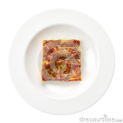 Lasagna bolognese italian recipe plate isolated