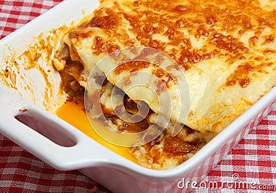 Lasagna or lasagne in Serving Dish