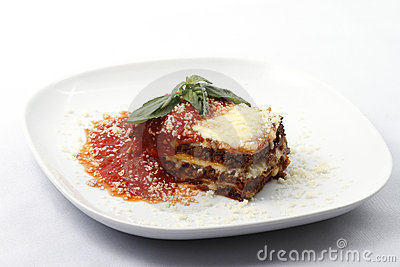 Lasagna on plate