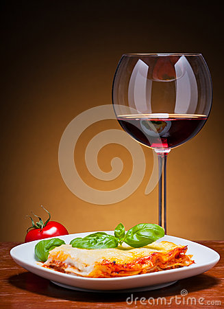 Lasagna and red wine