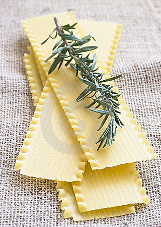 Lasagna sheets and fresh rosemary