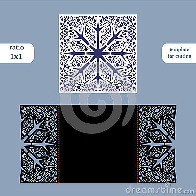 Laser Cut Christmas Square Card Template Cut Out The
