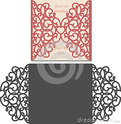 Free Laser Cut Envelope Template For Invitation Wedding Card Stock Photo - 72590060