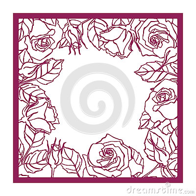 Free Laser Cut Rose Square Frame. Cutout Pattern Silhouette Wi Royalty Free Stock Image - 76944496