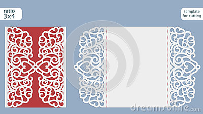 Laser cut wedding invitation card template vector. Cut out the paper card with lace pattern. Greeting card template for cutting Vector Illustration