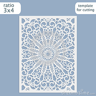 Laser Cut Wedding Invitation Card Template Vector. Cut Out The Paper ...