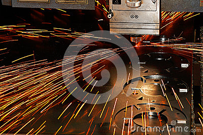 Laser cutting close-up from machinery industry