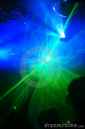 Laser lights in a disco