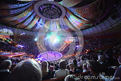 Laser show in Arena of the Great Moscow State Circus Editorial Stock Photo