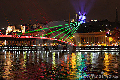 Laser show on the bridge Editorial Photography