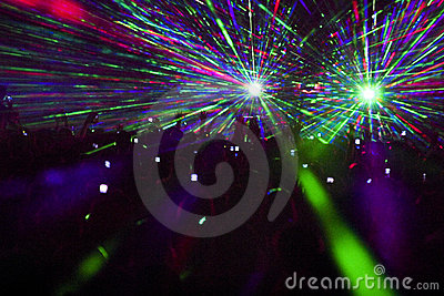 Laser show in club