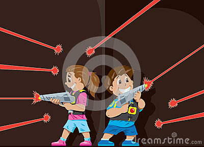 Kids Playing Laser Tag Royalty Free Stock Photos - Image: 9252588