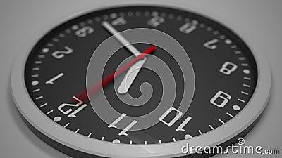 Lasso di tempo nero del quadrante di orologio metraggio 4k Attendere concetto stock footage