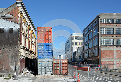 The last buildings standing in Tuam Street Christchurch, New Zea Editorial Stock Photo