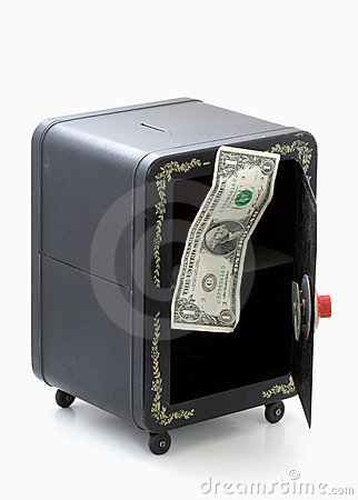 Last dollar in open empty combination toy bank
