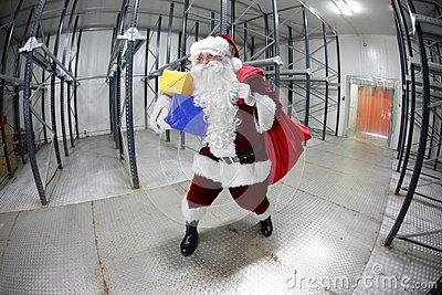 Last minute Santa Claus leaving empty storehouse