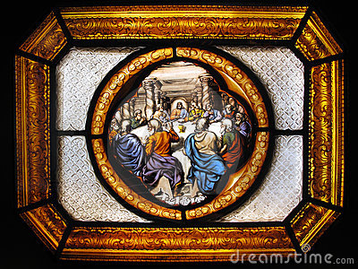 The Last Supper stained glass window panel
