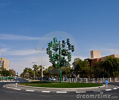 The last traffic light at Eilat, Israel Editorial Image