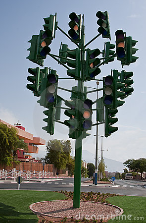 The last traffic light at Eilat, Israel Editorial Stock Image