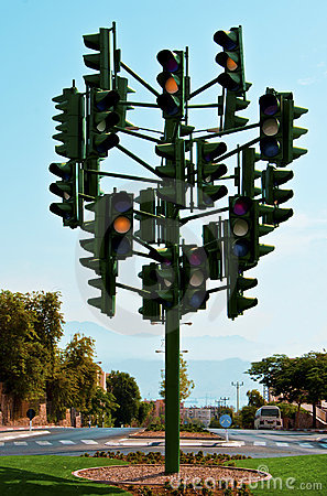 The last traffic light at Eilat, Israel Editorial Photography