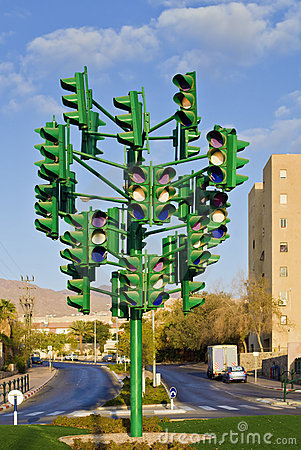 The last traffic signal in Eilat, Israel