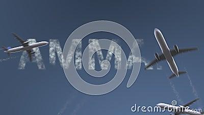 Latający samoloty wyjawiają Amman podpis Podróżować Jordanowska konceptualna wstęp animacja zdjęcie wideo