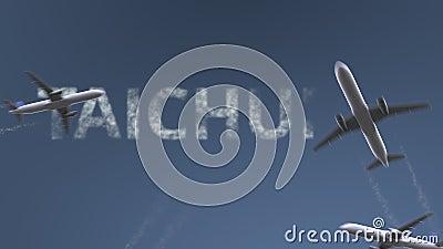 Latający samoloty wyjawiają Taichung podpis Podróżować Tajwańska konceptualna wstęp animacja zdjęcie wideo