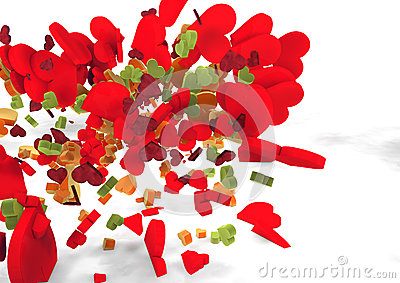Latających kolorów serca