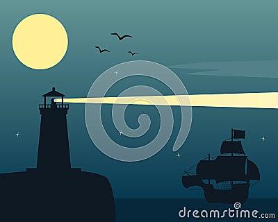 Latarnia morska i statek w blasku księżyca