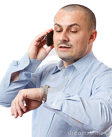 Free Late Businessman Looking At Watch Royalty Free Stock Images - 17335859