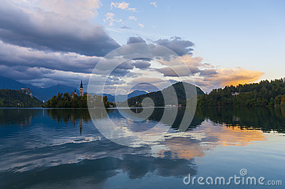 Late evening at Lake Bled