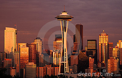 Late Glow, Seattle Editorial Stock Image