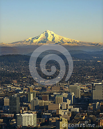 Mt. Hood with Portland Oregon