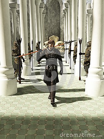 Medieval or Fantasy Spearman walking through the Throneroom