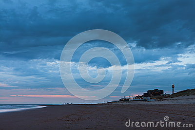 Late night view of the North Sea at Egmond aan Zee