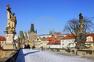 The late Snow in Prague - gothic Prague Castle
