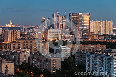 Late summer blue twilight over Moscow city Editorial Stock Image