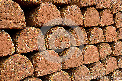 Laterite brick wall.